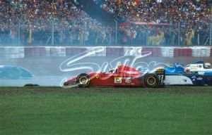 Jean Alesi spun his Ferrari on the first start of the 1995 Argentine Grand Prix. All rights reserved to Sutton Images.