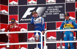 Damon Hill wins the 1995 Argentine Grand Prix ahead of Jean Alesi in second place and Michael Schumacher in third place.