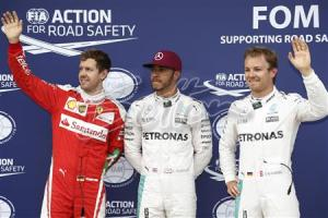 Lewis Hamilton claims Pole Position for the Canadian GP ahead of Nico Rosberg in second place and Sebastian Vettel in third place. All rights reserved to Sutton Images.